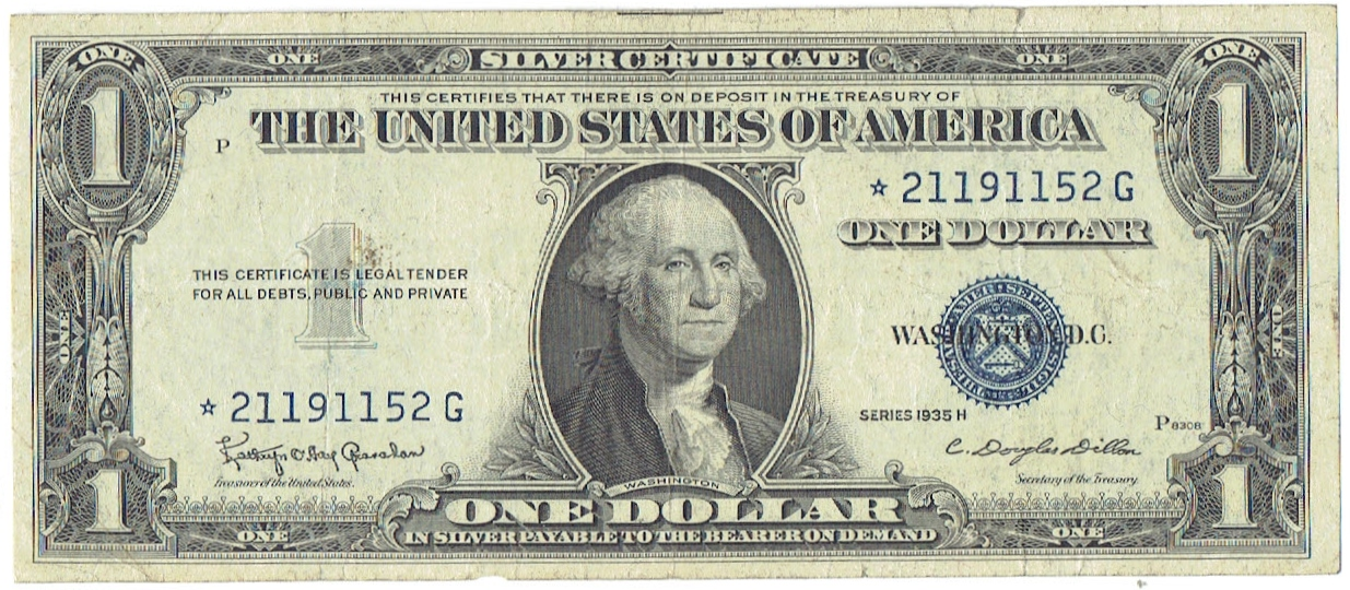 1935 H one dollar silver certificate Star Note