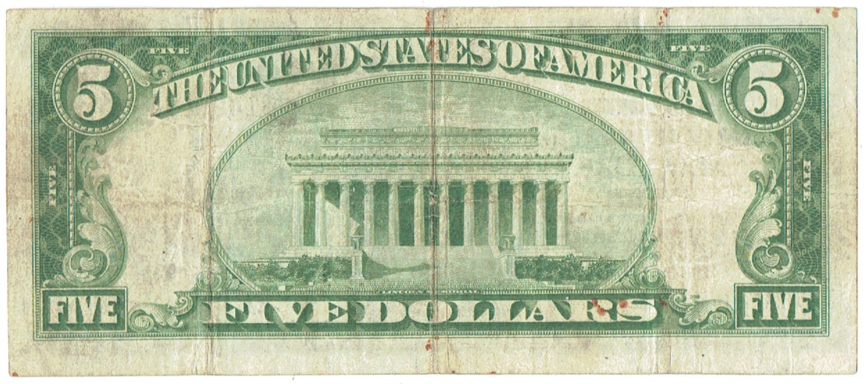 1929 five dollar national currency