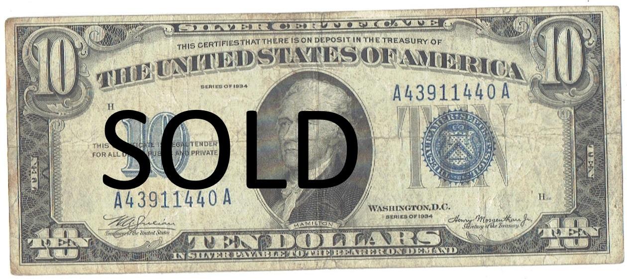 1934 ten dollar silver certificate