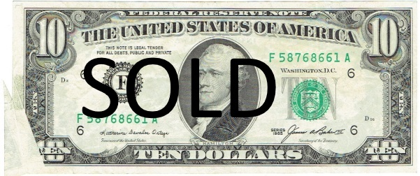 1985 ten dollar federal reserve note error