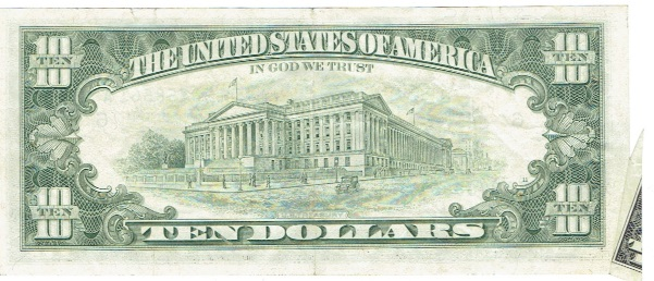 1985 ten dollar federal reserve note error