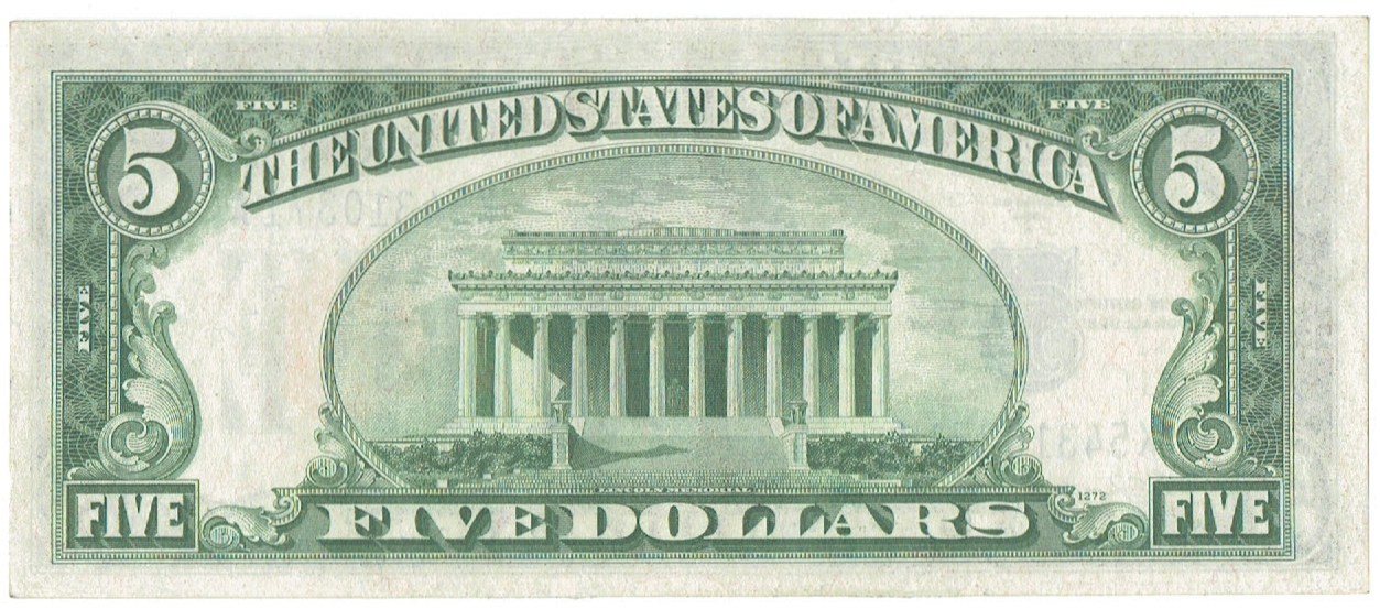 1934 A five dollar silver certificate