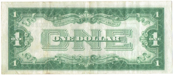 1928 B One Dollar  Silver Certificate Funnyback