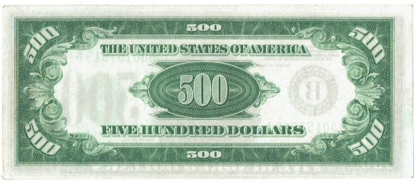 1934 five hundred dollar federal reserve note