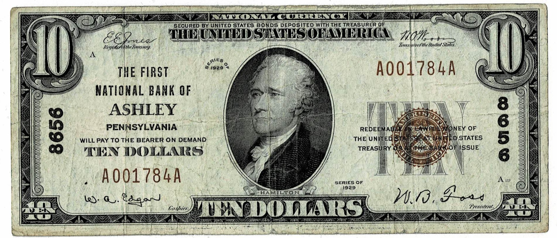 1929 ten dollar national currency
