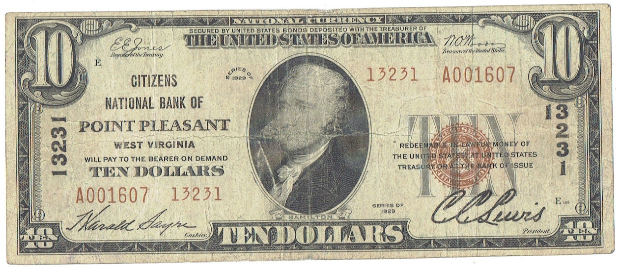 1929 twenty dollar national currency