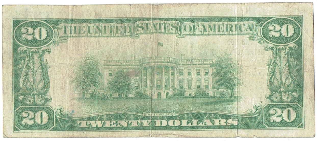 1929 twenty dollar national currency