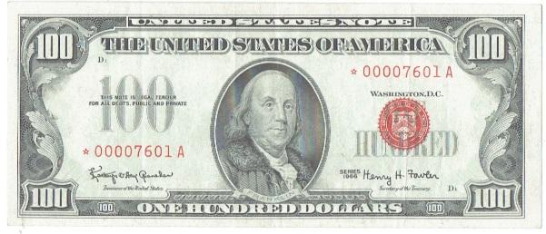 1966 One Hundred dollar united states note