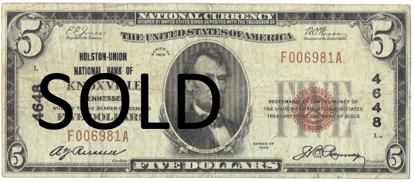 1929 five dollar National bank note