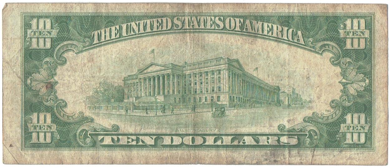 1934 A ten dollar silver certificate