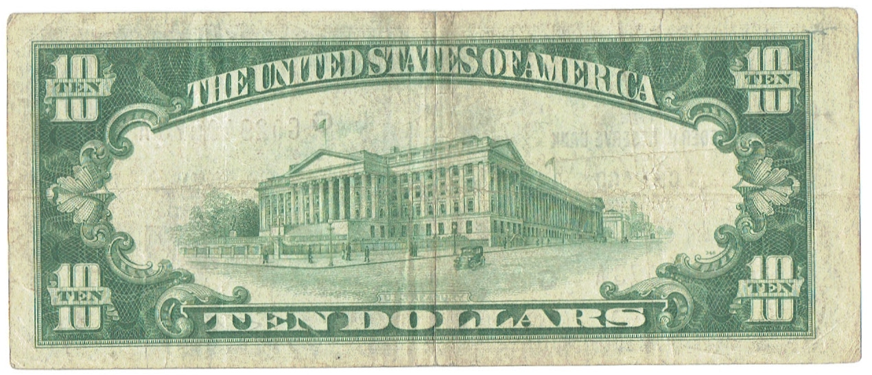 1934 A ten dollar hawaii overprint federal reserve note