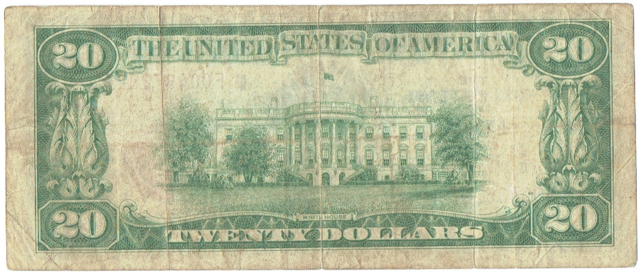 1934 A twenty dollar hawaii overprint federal reserve note