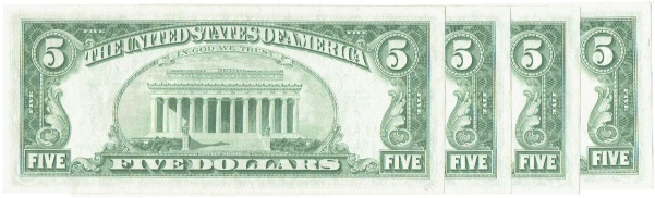 4-1963 Five Dollar United States Notes Consecutive Serial Numbers