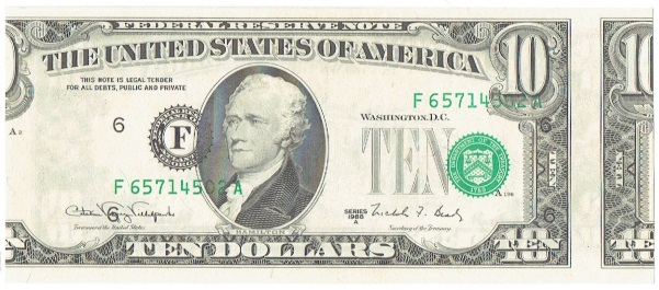 1988 A ten dollar federal reserve note error