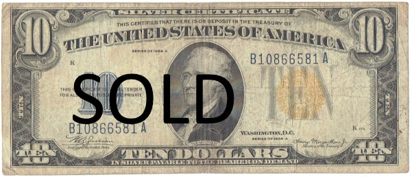 1934 A ten dollar silver gold seal silver certificate