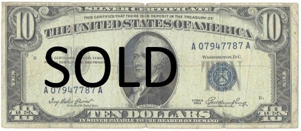 1953 ten dollar silver certificate