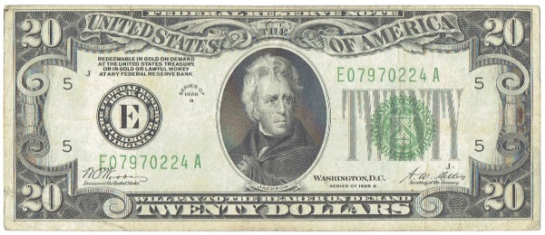 1928 B twenty dollar federal reserve note