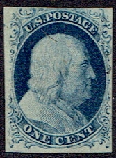 1851 US #7 One Cent Blue Franklin