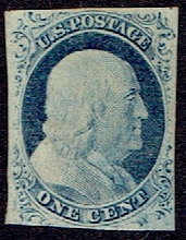 1852 US #9 One Cent Blue Franklin
