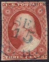 1851 US #10 Three Cent Orange Brown Washington