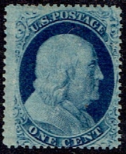 1857 US #24 One Cent Blue Franklin