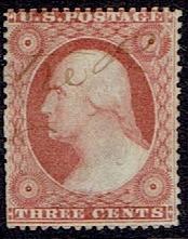 1857 US #25 Three Cent Rose Red Washington