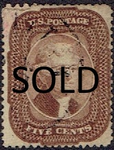 1857 US #29 Five Cent Brown Jefferson