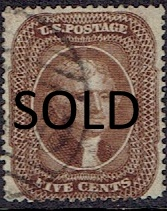1857 US #30A Five Cent Dark Brown Jefferson