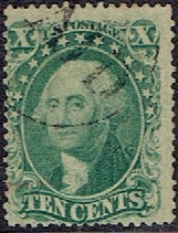1857 US #33 Ten Cent Green Washington