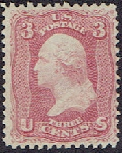 1861 US #65 Three Cent Rose Washington