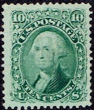 1861 US #68 Ten Cent Green Washington