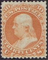 1861 US #71 Thirty Cent Orange Franklin