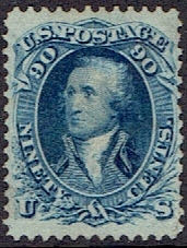 1861 US #72 Ninety Cent Blue Washington