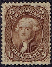 1863 US #76 Five Cent Brown Jefferson