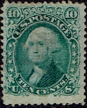 1867 US #89 Ten Cent Green Washington E Grill