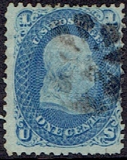 1867 US #92 One Cent Blue Washington F Grill