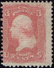1867 US #94 Three Cent Red Washington F Grill