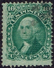 1867 US #96 Ten Cent Green Washington F Grill