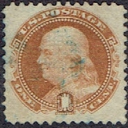1869 US #112 One Cent Brown Orange G Grill