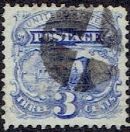 1869 US #114 Three Cent Ultramarine Steam Engine G Grill