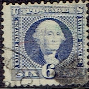 1869 US #115 Six Cent Ultramarine Washington G Grill