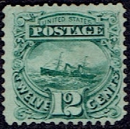 1869 US #117 Twelve Cent Green Steamship GGrill