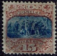 1869 US #118 Fifteen Cent Brown & Blue Christopher Columbus G Grill