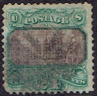 1869 US #120 Twenty Four Cent Green Continental Congress G Grill