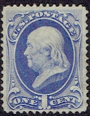 1870 US #134 One Cent Ultramarine Benjamin Franklin  H Grill